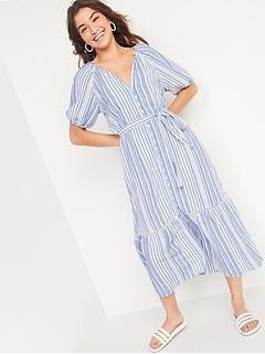 Dobby-Stripe Tie-Belt Shirt Dress for Women