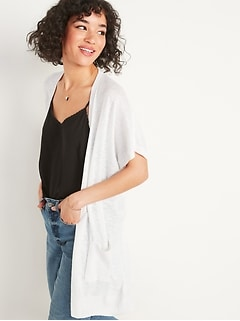 Super-Long Slub-Knit Short-Sleeve Open-Front Sweater for Women