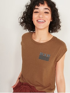 Graphic Linen-Blend Muscle Tee for Women