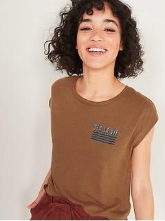 T-shirt sans manches en mélange de lin à imprimé pour femme