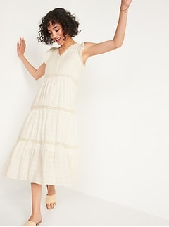 Flutter-Sleeve Tiered Dobby Midi Swing Dress for Women