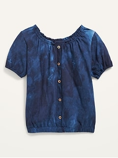 Puff-Sleeve Button-Front Printed Top for Girls