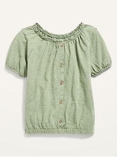 Puff-Sleeve Button-Front Slub-Knit Top for Girls