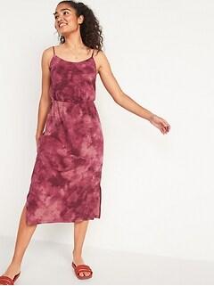Waist-Defined Tie-Dye Slub-Knit Cami Midi Dress for Women