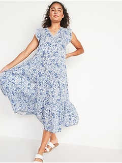 Tiered Floral-Print Midi Swing Dress for Women