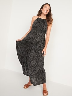 Maternity Sleeveless Tiered Leopard-Print Maxi Swing Dress