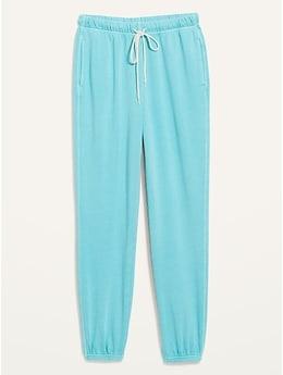 Pantalon en coton ouaté classique spécialement teint à taille très haute pour Femme
