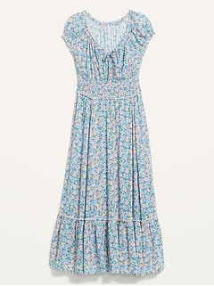Smocked Waist-Defined Floral-Print Midi Dress for Women