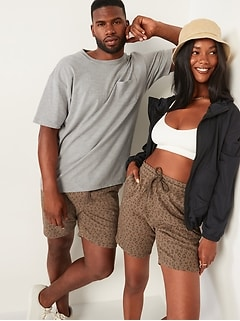 Gender-Neutral Leopard-Print Jogger Sweat Shorts for Adults -- 7.5-inch inseam