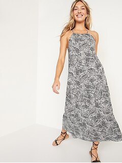 Sleeveless Tiered Palm-Print Maxi Swing Dress for Women