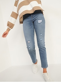 High-Waisted Power Slim Straight Ripped Jeans for Women