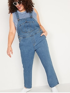 Slouchy Straight Medium-Wash Workwear Jean Overalls for Women