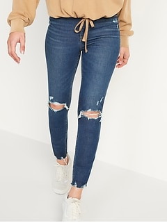 Extra High-Waisted Rockstar 360° Stretch Super Skinny Ripped Ankle Jeans for Women