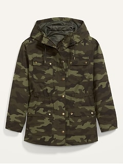 Water-Resistant Canvas Utility Plus-Size Hooded Jacket