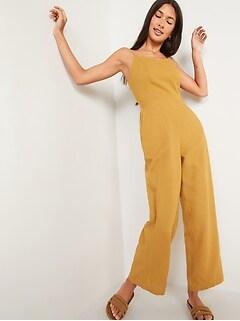 Combinaison camisole à col enV en mélange de lin pour Femme