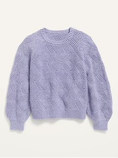 Cable-Knit Blouson-Sleeve Pullover Sweater for Girls