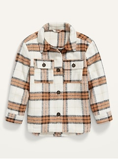 Plaid Textured Shacket for Girls