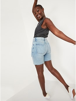 Extra High-Waisted Sky Hi Straight Button-Fly Cut-Off Jean Shorts for Women -- 7-inch inseam