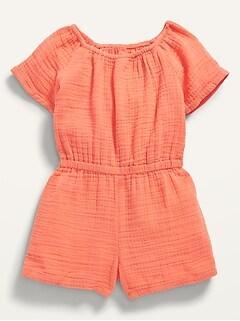 Short-Sleeve Textured-Dobby Romper for Toddler Girls