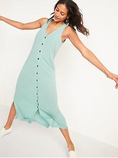 Sleeveless Linen-Blend Button-Front Midi Shift Dress for Women