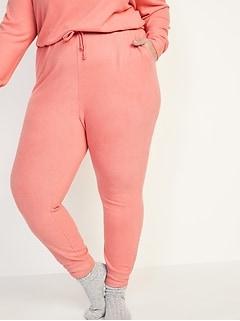 Pantalons de jogging de détente à taille haute en tissu brossé doux douillet, tailles fortes.