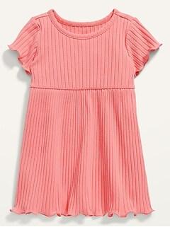 Robe à manches courtes en tricot côtelé pour Bébé