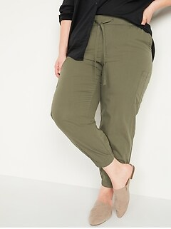High-Waisted Poplin Tapered Jogger Plus-Size Cargo Pants