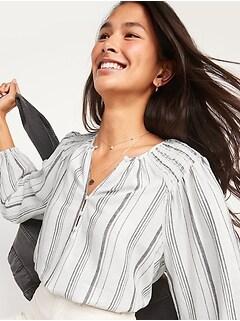 Long-Sleeve Striped Linen-Blend Poet Blouse for Women