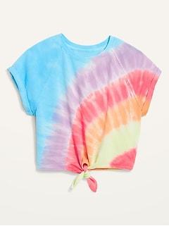 Loose Tie-Dye Tie-Hem Cropped Short-Sleeve Sweatshirt for Women