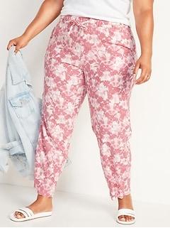 Pantalon à jambe large à taille haute en mélange de lin teint par nœuds, taille forte