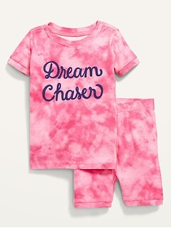 Unisex Printed Short-Sleeve Pajama Set for Toddler & Baby
