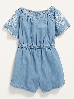 Embroidered Chambray Flutter-Sleeve Romper for Toddler Girls