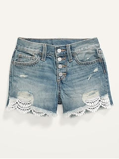 High-Waisted Button-Fly Lace-Trim Jean Shorts for Girls