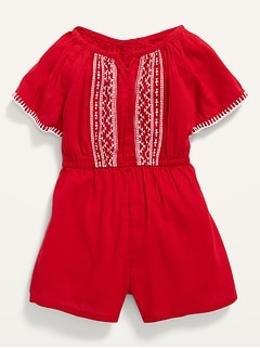 Embroidered Flutter-Sleeve Romper for Toddler Girls