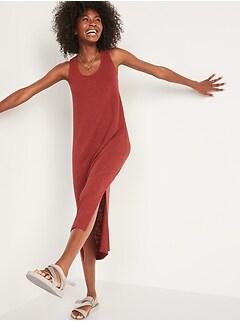 Sleeveless Specially-Dyed Cross-Back Linen-Blend Midi Shift Dress for Women