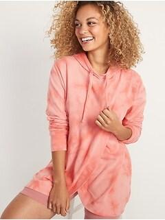 Maternity Tie-Dye Cross-Front Nursing Tunic Hoodie