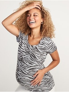 Maternity Scoop-Neck Side-Shirred Tee