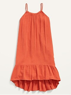 Sleeveless Textured Hi-Lo Dress for Girls