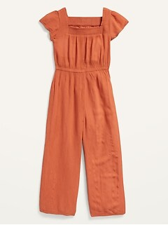 Square-Neck Crinkle-Textured Short-Sleeve Jumpsuit for Girls