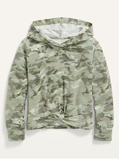 Cozy Plush Twist-Front Pullover Hoodie for Girls