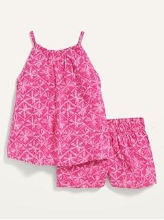 Printed Sleeveless Top & Shorts 2-Piece Set for Toddler Girls