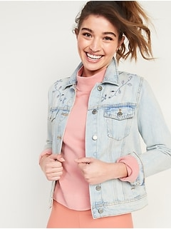 Light-Wash Embroidered-Cutwork Jean Jacket for Women
