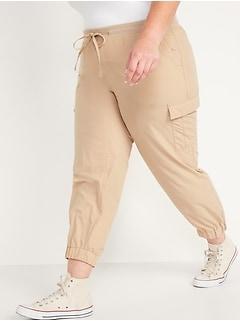 Pantalon d'entraînement cargo en tissage doux à taille mi-basse en tricot côtelé, taille Plus