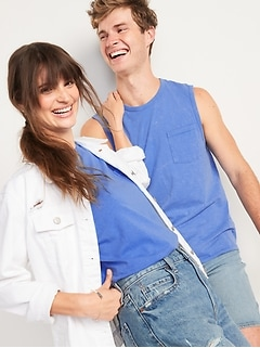 Vintage Garment-Dyed Gender-Neutral Sleeveless T-Shirt for Adults