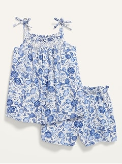 Floral-Print Sleeveless Top & Shorts Set for Toddler Girls
