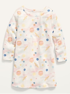 Printed Long-Sleeve Nightgown for Toddler Girls