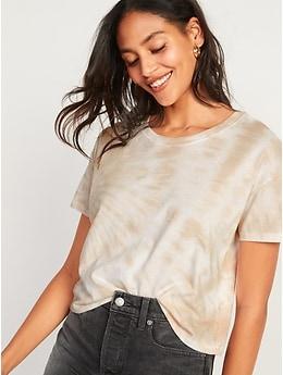 T-shirt court ample à manches courtes pour Femme
