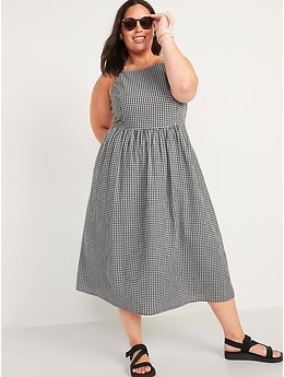 Fit & Flare Gingham Midi Cami Dress for Women