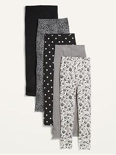 5-Pack Full-Length Leggings for Girls