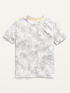 T-shirt à manches courtes et imprimé camouflage Performance Go-Dry en maille pour Garçon